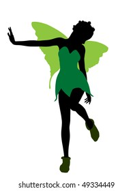 Tinker Bell illustration silhouette on a white background