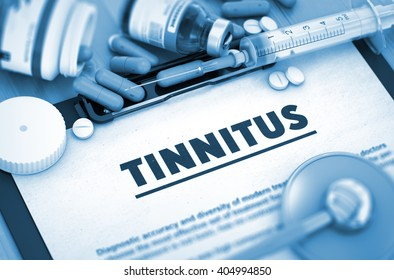 Tinnitus - Printed Diagnosis with Blurred Text. Diagnosis - Tinnitus On Background of Medicaments Composition - Pills, Injections and Syringe. 3D.