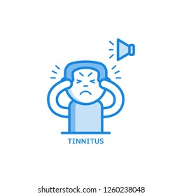 Tinnitus thin icon - symptom of otolaryngology disease isolated on white background. Sick male character hearing loud sound or ringing in ears in outline illustration.