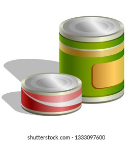 Tins cans and Jars icon isolated on white background. Symbol canned food. illustration