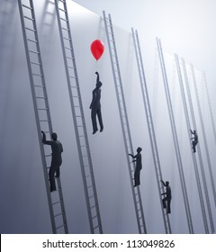 Tiny abstract people climbing ladders - innovation and advantage in business concept