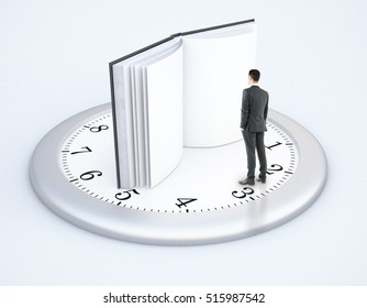 Tiny businessman standing on clock with open book instead of arrows on light background. Education and dealine concept. 3D Rendering