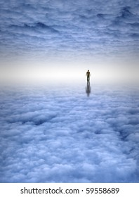 Tiny man in large white cloud filled space