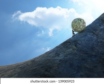 Tiny man pushing a huge ball of money up hill