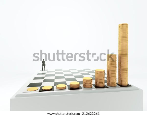 Tiny man standing on a chessboard with growing height coins stacks - exponential growth and compound interest concept