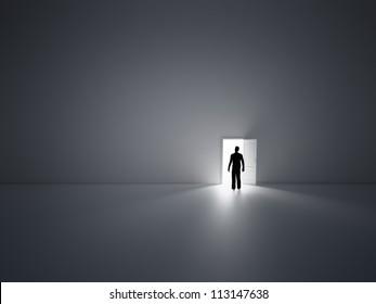 Tiny person walking into open doors