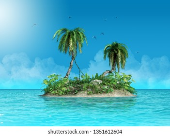 Tiny small tropical island with palm trees, defying the ocean, 3d render painting