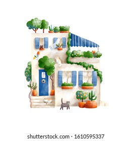 Tiny southern house with plants and cats