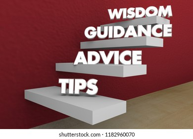 Tips Advice Guidance Wisdom Knowledge Steps Stages 3d Illustration
