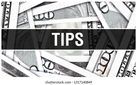 TIPS Treasury Inflation Protected Securities Closeup Concept. American Dollars Cash Money,3D rendering. TIPS at Dollar Banknote. Financial USA money banknote and commercial money investment profit