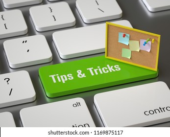 Tips & Tricks key on the keyboard, 3d rendering,conceptual image