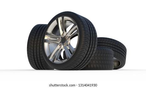 tire auto cast 3d render