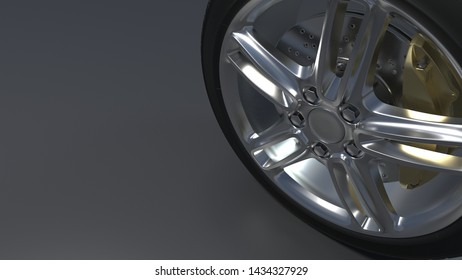 tire auto on a dark background. Alloy wheels.  3d render