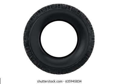 Tire black dirt wheel car, front view. 3D rendering