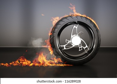 Tire burnout with flames smoke and debris,concept. 3d model with custom rim