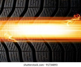 tire and flames abstract background