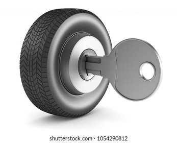 tire with key on white background. Isolated 3D illustration