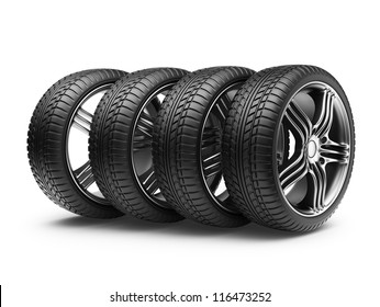 Tire with metal wheel. 3D Icon isolated on white background