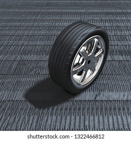 the tire on a background of sculpture 3D illustration