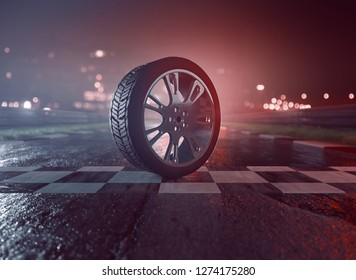 Tire on racing track (3D Rendering)