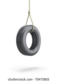 Tire swing over white background