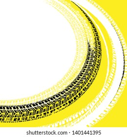 Tire tracks prints texture. Off-road grunge background. Beautiful illustration useful for automotive poster or leaflet design. Graphic image in black, white and yellow colors.