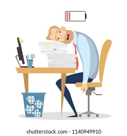 Tired businessman at office with low energy battery.