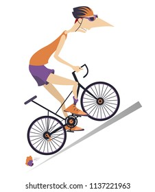 Tired cyclist rides a bike isolated illustration. Tired cartoon cyclist man in helmet overcomes a steep ascent isolated on white illustration