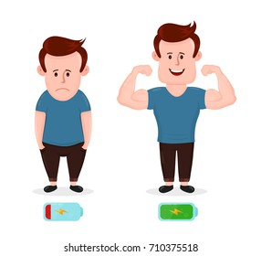 Tired sad young man with low energy level and energy strong muscular happy man. flat modern style illustration character icon design. Isolated on white background. Battery icon