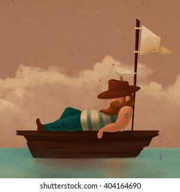 Tired sailor resting on the boat. He was wearing a hat, a seagull sitting on a hat. Noon. Sea. Illustration