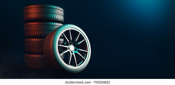 Tires 5 lines on a black background. 3d render and illustration.