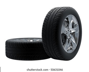 Tires isolated on white background.
