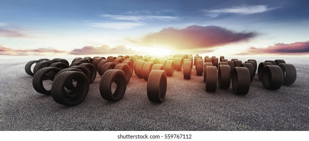 Tires on the road. 3d rendering