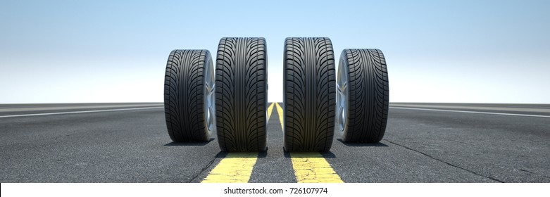 Tires on street or highway as exchange or safety concept (3D Rendering)