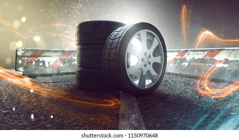 Tires on the street with light effects (3D Rendering)
