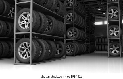 Tires and rims for car - 3D Rendering