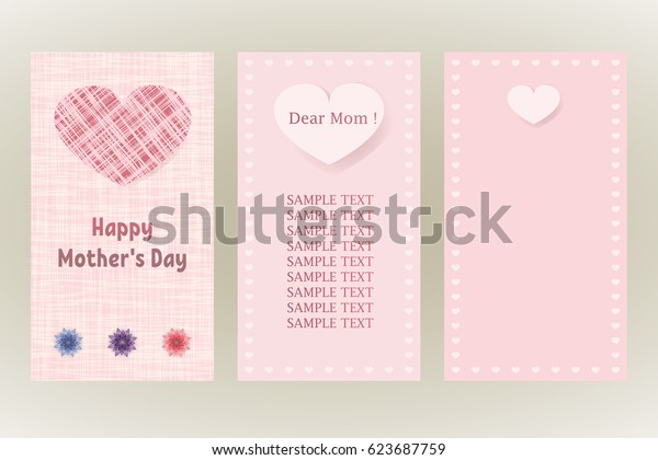 Tissue card with the image of the heart. Happy Mothers Day. Greeting postcards in pink colors.