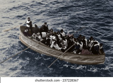 Titanic lifeboat 'Collapsible D' with a wooden bottom and canvas sides was overloaded and towed to the Carpathia by Lifeboat No 14 not in photo.