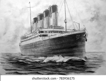 Titanic. Picture of a titanic pencil. The Titanic sails in the ocean.