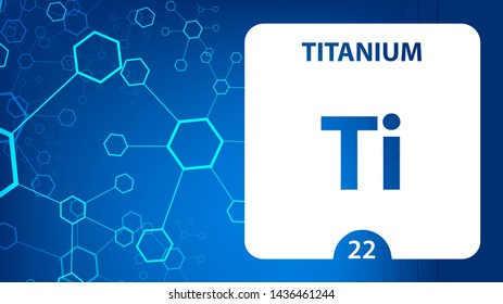 Titanium 22 element. Alkaline earth metals. Chemical Element of Mendeleev Periodic Table. Titanium in square cube creative concept. Chemical, laboratory and science background for university college