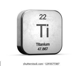 Titanium element from the periodic table series icons. Metallic icon 3D rendered on white background