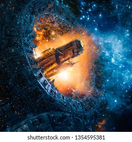 Titan's gate revisited / 3D illustration of science fiction heavy armoured battle cruiser spaceship arriving through giant mechanical portal in outer space