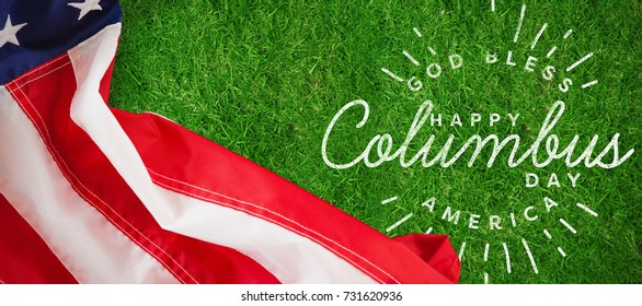 Title for celebration of colombus day  against closed up view of grass
