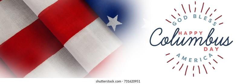 Title for celebration of colombus day  against full frame of wrinkled american flag