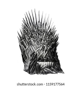 Title: The logo throne or T-shirt design or outwear. Hunting throne of king background.