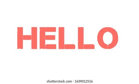 """Title text word """"HELLO"""" pink color style of 20 years of the last century on a white background"""