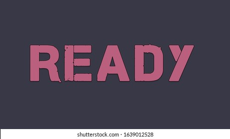 """Title text word """"READY"""" pink color computer game style on a dark background"""