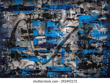 "Title: Zinger, original heavily textured abstract painting with a ""precious metals"" theme, cobalt blue, black and alloy silver colors"