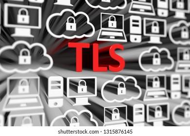 TLS concept blurred background 3d render illustration