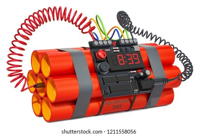 TNT bomb explosive with digital countdown timer clock. 3D rendering isolated on white background